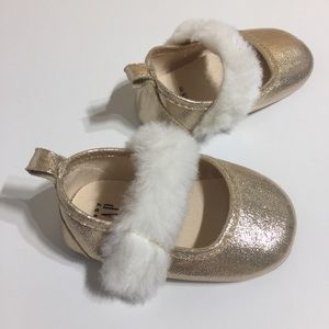 Shoes - BabyGap gold fuzzy baby girl shoes